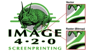 In the raster file, the edges of the art become distorted when the picture is enlarged. There are also hundreds of different shades of green in the raster, but only one solid color in the vector file.